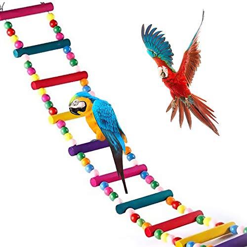 Meiso, giocattolo per uccelli da 74x10cm, per pappagalli, scala, altalena, ponticello arcobaleno per pappagalli, parrocchetti, calopsiti, cokatoo, inseparabili