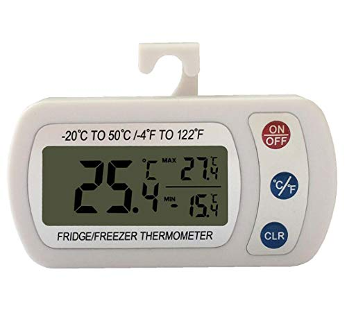 Meichoon Termómetro de Alta Precisión para Frigorífico y Congelador,Termómetro Digital Impermeable de Pantalla Grande,Alarma Electrónica para Nevera,Memoria Máxima y...