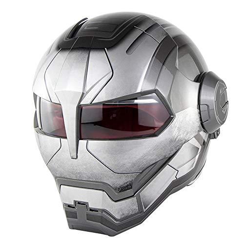 MTCTK Motorrad Iron Man Integralhelm Transformers Klapphelm Vintage Tour Moto Integrierter Helm D.O.T Certified,Brightgray,L