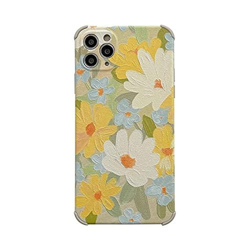 FightLY Moda pintura al óleo floral teléfono caso para iPhone 11 12 Pro Max XS Max X XR 7 8 Plus lindo alivio girasol suave TPU caso-amarillo para iPhone 11promax