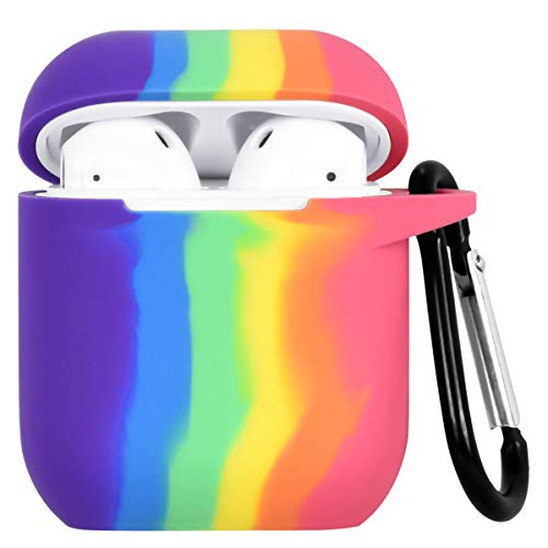 Ownest Compatible with AirPods Case with Silicone Rainbow Keychain for Women Men Girl Boy Shockproof No Dust AirPods Cover Case for Airpods 2 &1,Cute for Airpods-Rainbow