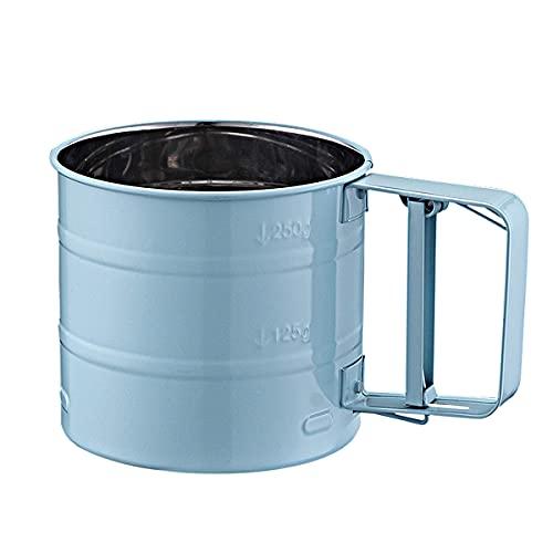 EER Mehl Sieb zum Backen Maschigem Edelstahl Back Werkzeug für Zucker, Mehl und Kaffee Pulver,Mehlsieb Shaker, Rostfreier Stahl Küchensieb Zum Filtern Puderzucker Pfeffer (Blau)