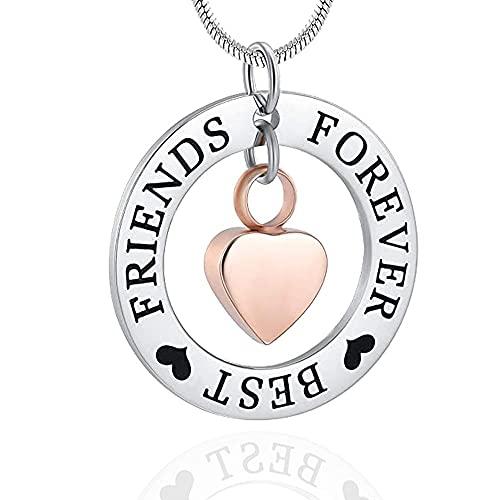 KBFDWEC Collar con Forma de urna de corazón pequeño para joyería Conmemorativa de Recuerdo de Cenizas, con el círculo de la Vida Grabado `` Forever Best Friend ''