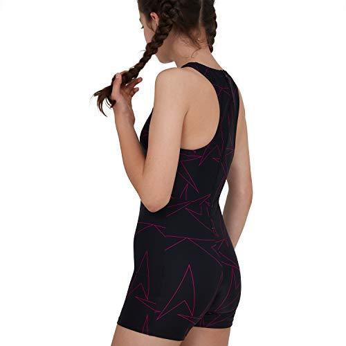 Speedo Girls' Boomstar Allover Legsuit, Black/Electric Pink, 30 (11-12 YRS)