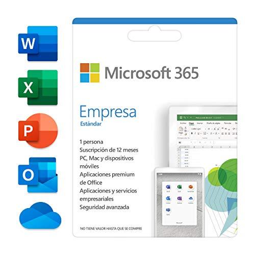 Microsoft 365 Empresa Estándar Suscripción anual para una licencia 5 teléfonos/tabletas/PCs/Mac para 1 persona Código de activación enviado por correo