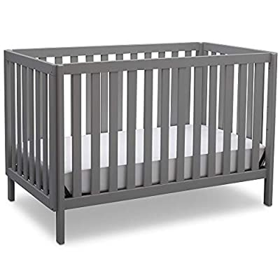 Delta Children Milo 3-in-1 Convertible Crib, Made of Sustainable New Zealand Wood, JPMA Certified for Baby's Safety, Easy to Assemble, Grey from Delta Baby Dropship