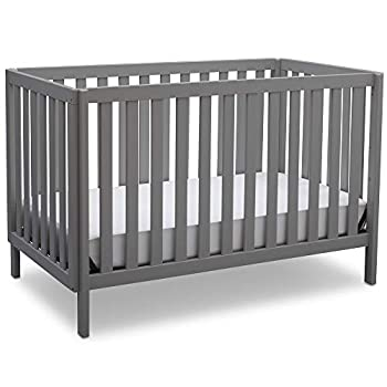 Delta Children Milo 3-in-1 Convertible Crib Made of Sustainable New Zealand Wood JPMA Certified for Baby's Safety Easy to Assemble Grey