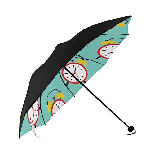 Alarm Clock Home Creative Design Color Compact Travel Umbrella Sun Parasol Anti Uv Foldable Umbrellas(underside Printing) As Best Present For Women Sun Uv Protection