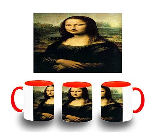 MERCHANDMANIA Taza ROJA GIOCONDA Monalisa Cuadro Color mug