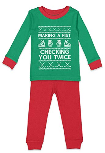 Haase Unlimited Making A Fist Checking You Twice - Hockey Infant/Toddler Pajama Set (Kelly & Red Top/Red Bottoms, 5T/6T)