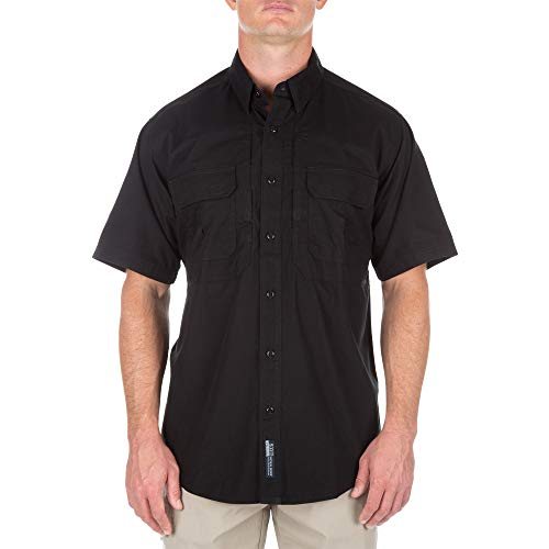 5.11 Tactical Cotton Tactical Short Sleeve Shirt, Black, X-Small