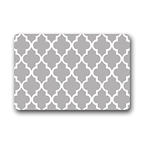 Eureya Tapis d'entrée marocain en treillis Motif géométrique Gris antidérapant Salle de bain Salon Cuisine Tapis de porte Tapis de sol pour intérieur/extérieur 40 x 60 cm