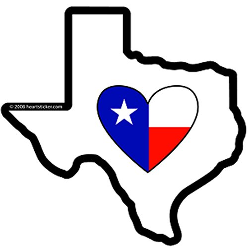 Texas Sticker | Heart in Texas Vinyl Decal Label Die-cut Shape for Water Bottle Laptop Luggage Bike Laptop Car Bumper Helmet Waterproof Show Love Pride Local Spirit Deep in the Heart Cowboy Spur Sta
