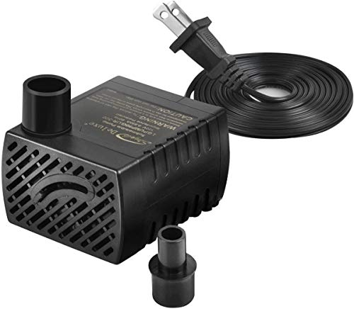 Simple Deluxe LGPUMP80G 80 GPH Submersible Water Pump with 6' Cord and 2 Threaded Nozzles for Fountains, Ponds, Aquariums and Hydroponics, Black, 1-Pack