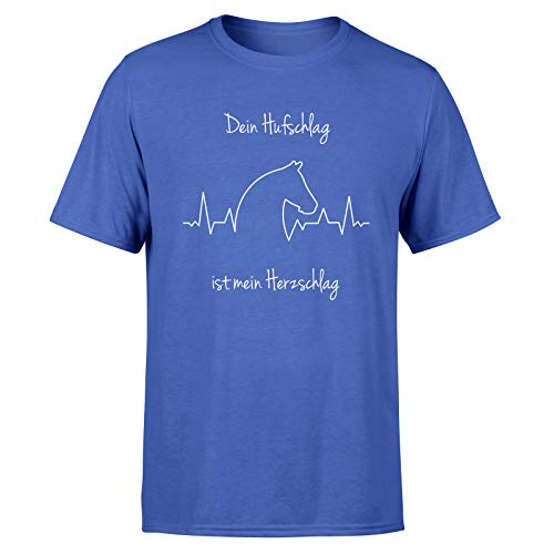 T-Shirt Pferde Liebe * Pferdemotiv Pferdekopf Pferdefreunde Pferd Tier Frau * 100% Baumwolle, Farbe:Blau, Größe:XS