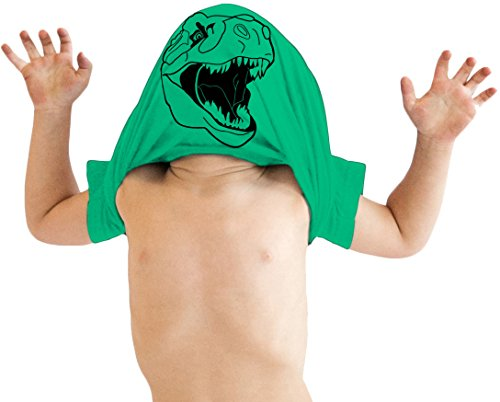 Crazy Dog Tshirts - Toddler Ask Me About My Trex T Shirt Funny Cool Dinosaur Flip Humor Tee for Kids (Green) - 4T - Baby-Enfant