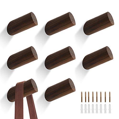 QUMENEY - 8 ganchos de madera para abrigo de pared, gancho de madera para sombrero de pared para armario, ganchos de madera modernos para perchero individual (6 cm / 2,36 pulgadas de nogal negro)
