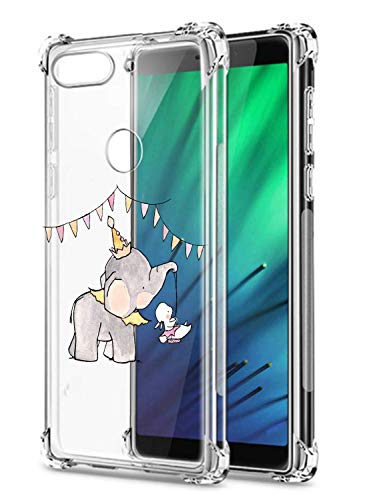Oihxse Crystal Coque pour Xiaomi Redmi Note 4X/Note 4 Transparent Silicone TPU Etui Air Cushion Coin avec Motif [Elephant Lapin] Housse Antichoc Protection Bumper Cover (A12)