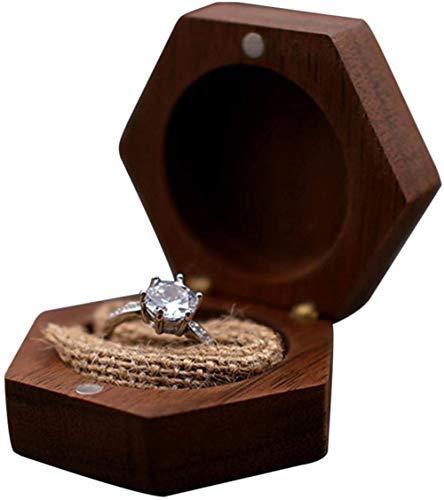 YYQLLXH Caja de anillo hexagonal vintage, Caja de anillo de madera para bodas, Caja de anillo de compromiso Caja de joyería de boda Caja de regalo de joyería Nogal negro