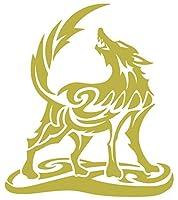 カッティングステッカー オオカミ(狼) ウルフ(wolf) トライバル・2(左向き) 約160mmX約140mm ゴールド 金