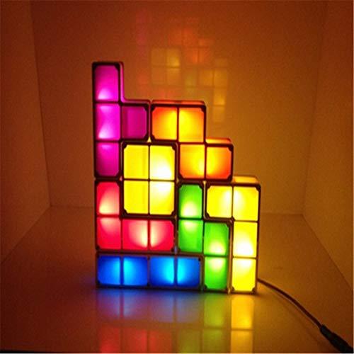MY-LIGHTING Tetris Lampes de Table Night Light 7 Pièces DIY Puzzles empilables DIY Induction Verrouillage Night Light Lampe de Bureau pour Garçon Fille Cadeau pour la Décoration