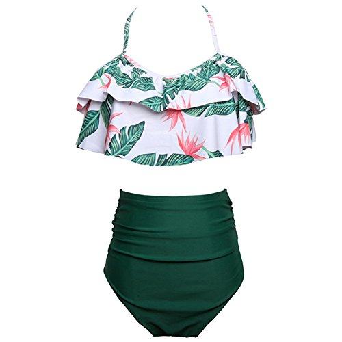 iBaste Sexy Bikini Damen High Waist Bademode Neckholder Bikini mit Polka Dots Badeanzug Damen Bikini Set-GR-L