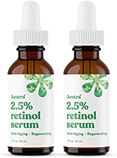 ASUTRA Anti-Aging 2.5% Retinol Serum, 1 fl oz (2pk)   Ultra Potent & Helps Minimize Signs of Aging   Plump Up Skin & Decre...