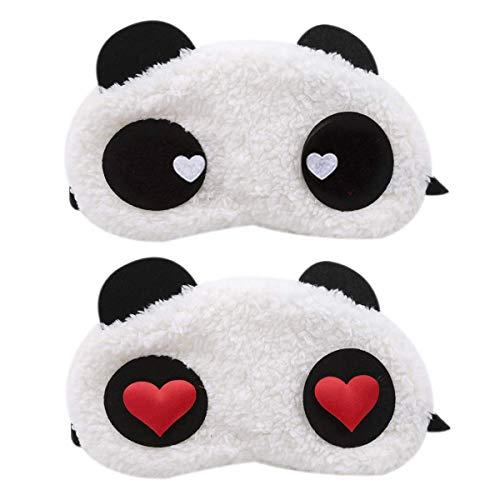 Lot de 2 masques pour les yeux en forme de panda, doux et moelleux, pour les voyages, les soirées pyjama, les fêtes