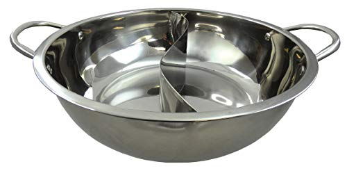 yoaxia ® - [ Ø 32cm Edelstahl HOT POT ] Topf mit 2 Kammern / Feuertopf / Shabu Shabu