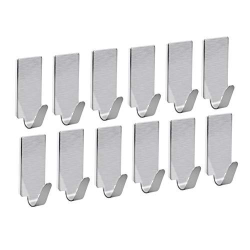 LEORX Acero inoxidable adhesivos toalla ganchos Racks ganchos de pared para cocina baño 12pcs