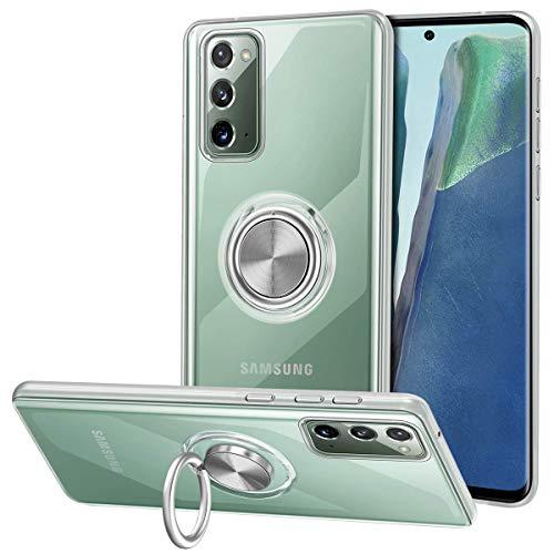 Vunake Galaxy Note 20 Hülle,Silikon TPU Hülle Cover mit 360 Grad Ring Stand dünn Handyhülle kompatibel Magnetische Autohalterung Slim Schutzhülle Fingergriff Tasche für Samsung Galaxy Note 20 6.7,Clear