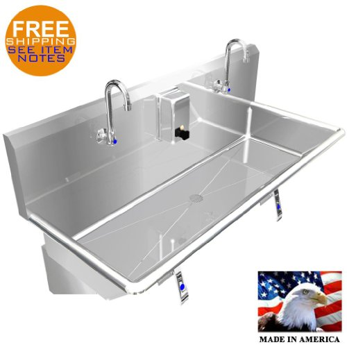 """HAND SINK 40"""" 2 USERS MULTISTATION KNEE VALVE STAINLESS STEEL BASIN MADE IN USA"""