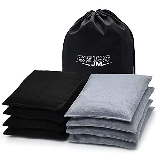 JMEXSUSS Weather Resistant Standard Corn Hole Bags, Set of 8 Regulation Cornhole Bags for Tossing Game (Black/Grey)