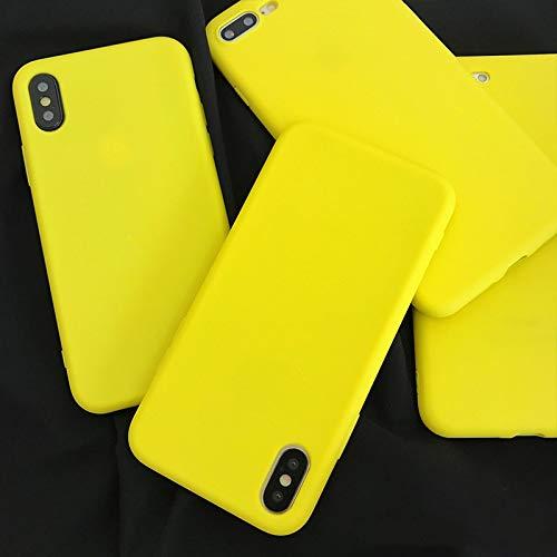 QWP Caja del teléfono del iPhone for 11 Pro MAX 6 7 8 6S Plus X Amarillo limón Colores del Caramelo TPU de teléfono de la contraportada del Caso de Shell (Material : For iPhone 11)