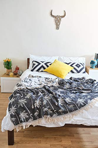 100prozent Baumwolle King Size Tagesdecke Bohemian Style Bettüberwurf mit Quasten Boho Decke Home Decor Flamingo Muster 220x240cm Anthrazit