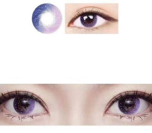 No logo Rosa, Grau, Lila Kontakt Farbige Kontaktlinsen Kontaktlinsen Korea Lentilles mit Fall, 0.00 Dioptrien (Farbe : Lila)