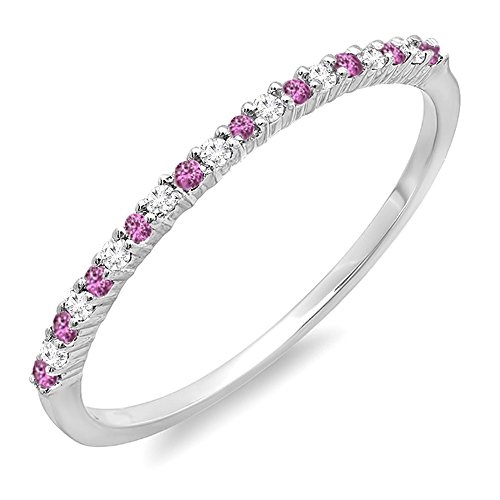 14K Round Pink Sapphire & White Diamond Ladies Wedding Stackable Ring by Dazzling Rock