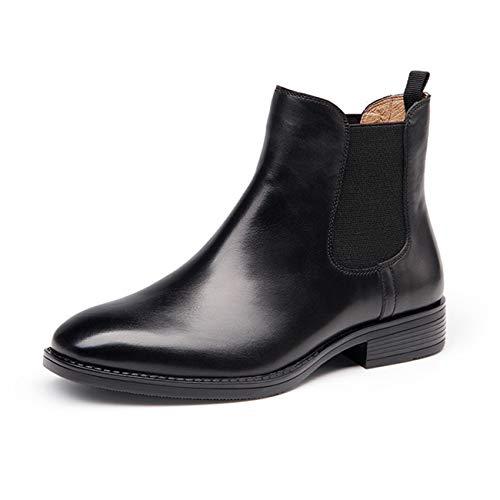 [ZUYEE] (ズイェ) レディース サイドゴアブーツ 本革 フラット ショートブーツ おしゃれ 歩きやすい ブラック 23.5cm