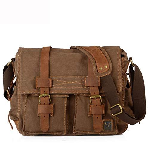 SYFundDJN Herren Kamera Messenger Bag Vintage Leder Travel SLR Umhängetasche Multifunktionale Outdoor Laptop Crossbody Umhängetasche,Darkcoffee