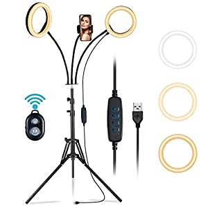 VicTsing Dual Ring Light 8'' with Tripod Stand & Phone Holder, Selfie Ring Light with 3 Light Modes & 10 Brightness & 360°Adjustable & Remote Shutter, for Live Stream, Makeup, Photography, Video