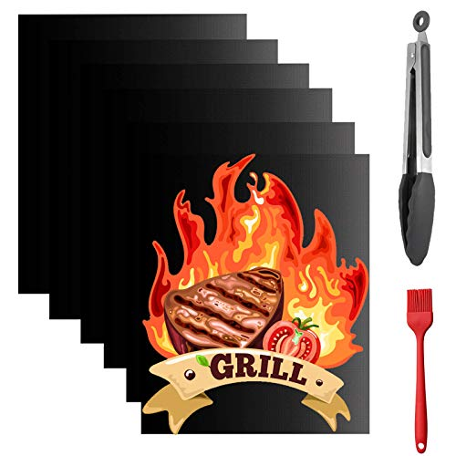 Nifogo Grillmatte 6er Set - Grillmatten für Gasgrill/Holzkohlegrill Extra Dick 0.25mm Antihaft für Grill und Backofen, Kostenlos 1 Grillzange und 1 Silikonbürste (A-40 * 60cm+Zange)