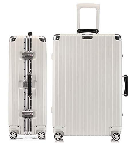 lanbao スーツケース アルミフレーム 軽量 キャリーケース 耐衝撃 キャリーケース 機内持込 キャリーバッグ 人気 大型 TSAロック付 静音 旅行出張 ヘアライン仕上げ 3年保証 (ワイト, L)