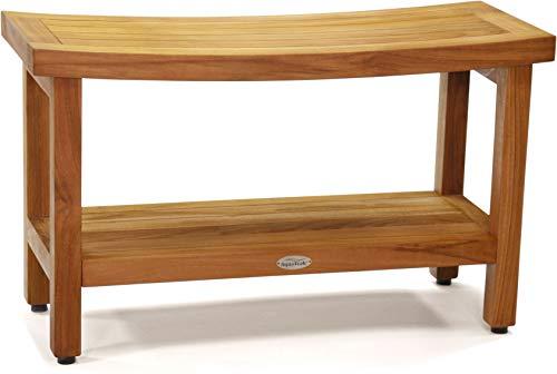 AquaTeak Patented 30' Sumba Teak Shower Bench with Shelf
