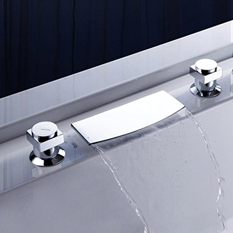 Beckenarmatur Breite Entenbassinarmatur Heie und kalte Zwei-Griff-Beckenarmatur Badarmatur dreiteilig