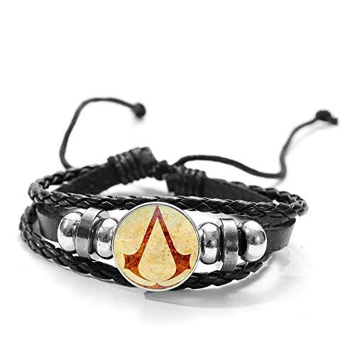 Pulsera de piel y cristal con logotipo de Assassin's Creed