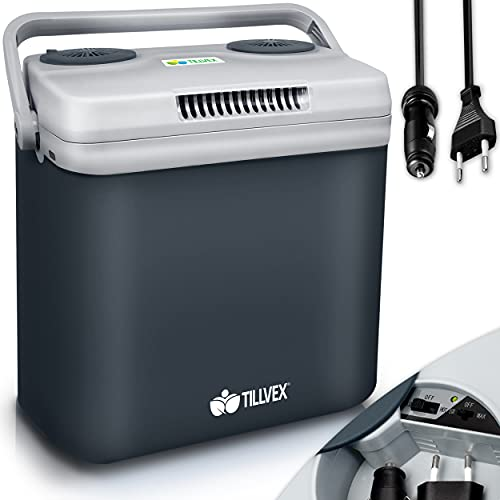 tillvex Kühlbox elektrisch 32L | Mini-Kühlschrank 230 V und 12 V für KFZ Auto Camping | kühlt & wärmt | ECO-Modus (Grau)