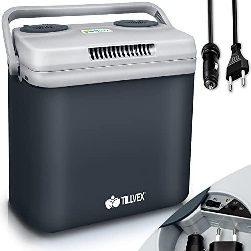 tillvex Glacière électrique 32L | Mini-frigidaire 230 V et 12 V pour camping avec voiture | refroidit et réchauffe | Mode ÉCO (Gris)