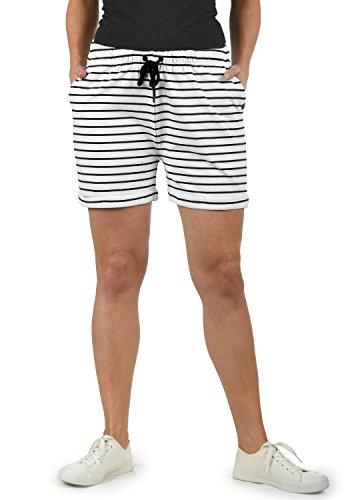 DESIRES Lena Damen Sweatshorts Bermuda Shorts Kurze Hose Mit Stretch-Material Und Streifen-Muster Regular Fit, Größe:M, Farbe:White/Bla (0001B)