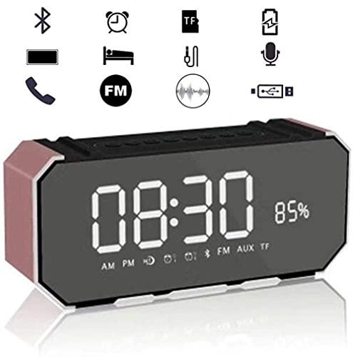 MingXinJia Relojes de Cabecera para el Hogar Altavoz de Diente Inalámbrico Espejo Despertador Reloj de Radio Digital, Mini Led Portátil Radio de Tiempo Reloj de Mesa Junto a la Cama Reloj Inteligente