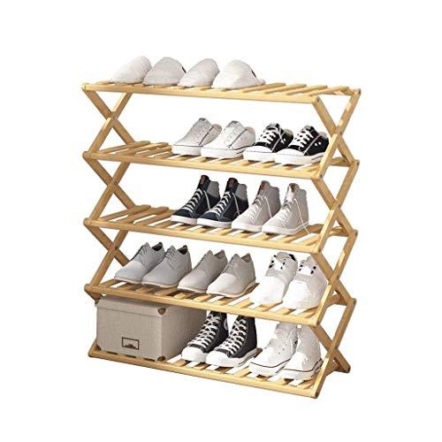 Artículos para el hogar, Zapatero Organizador Plegable sin instalar Zapatero Zapatero de bambú simple Estante de almacenamiento de múltiples capas para el gabinete de zapatos para el hogar (Tamaño: S
